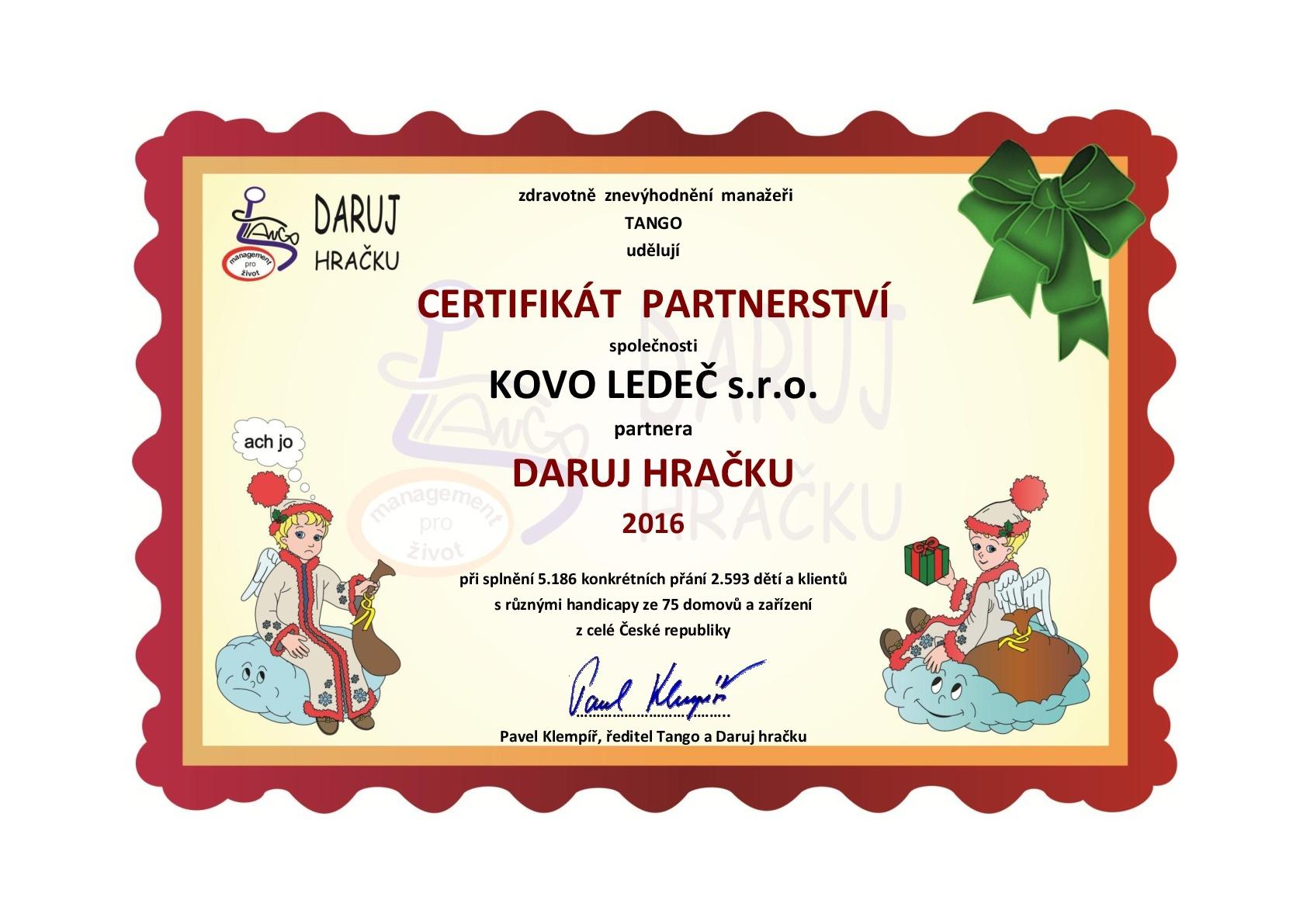 KOVO LEDEČ-Certifikát Daruj hračku-Tango-2016-001
