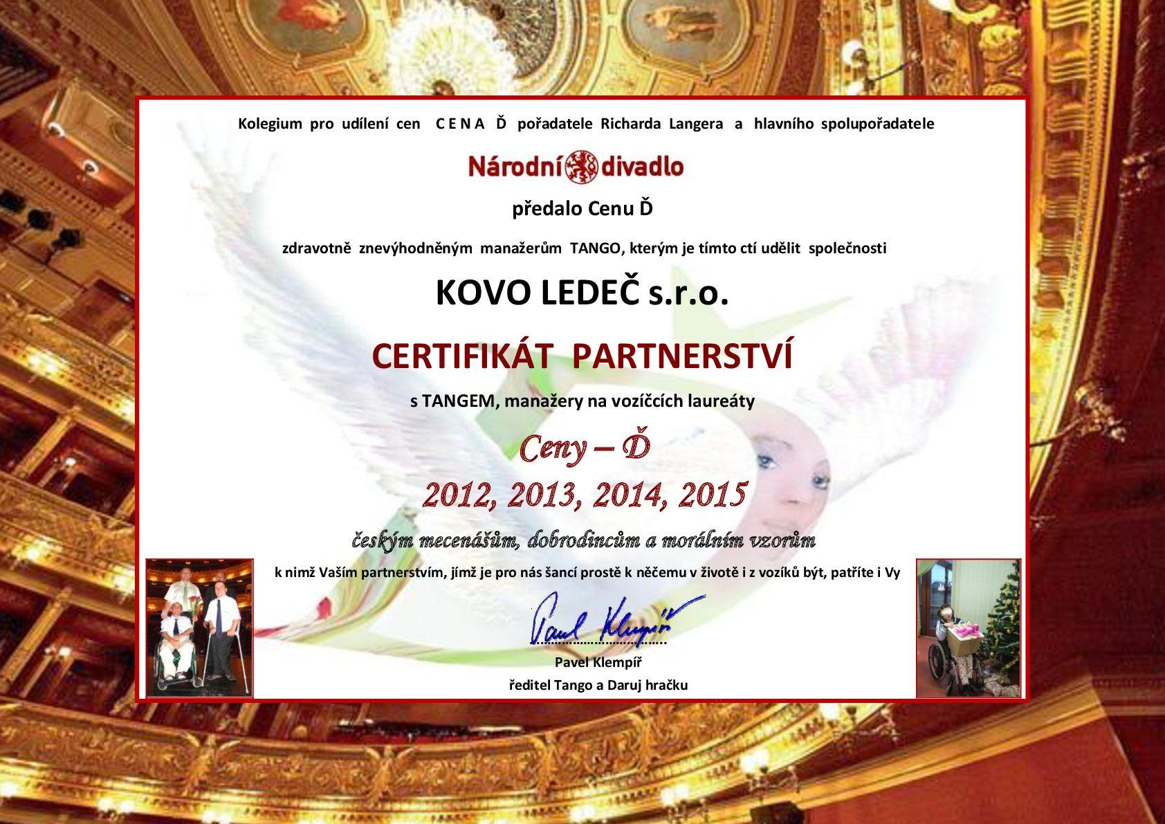 KOVO LEDEČ-Certifikát partnertsví Cena-D-Tango-2016-001