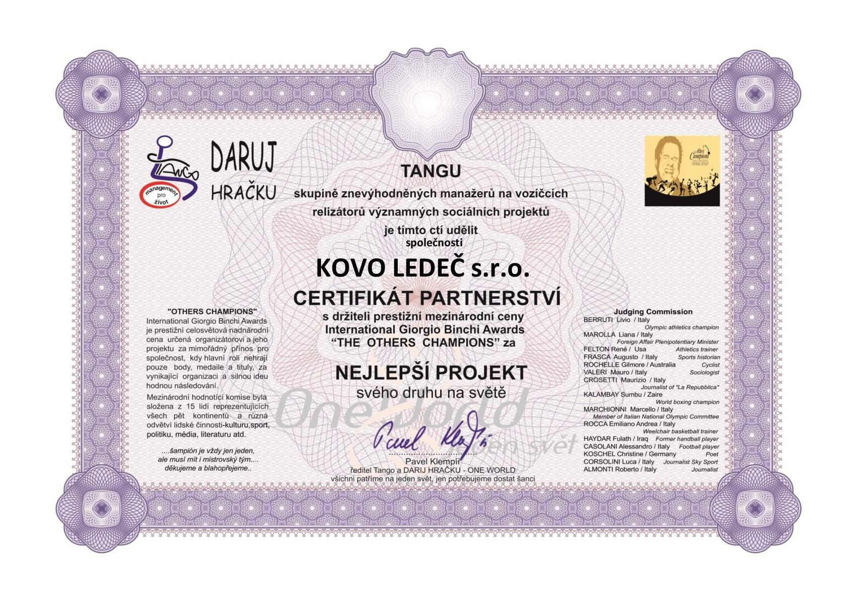 KOVO LEDEČ-Certifikát partnertsví Others Champions-Tango-001